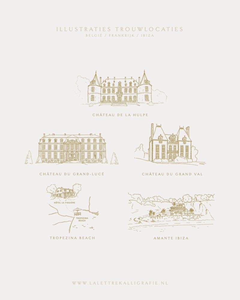 La Lettre Kalligrafie illustraties tekening trouwlocaties locatie Bruiloft uitnodigingen illustration venuesketch wedding weddingvenue frankrijk belgie ibiza chateau de la hulpe chateau du grand-luce chateau du grand val tropezina beach amante ibiza