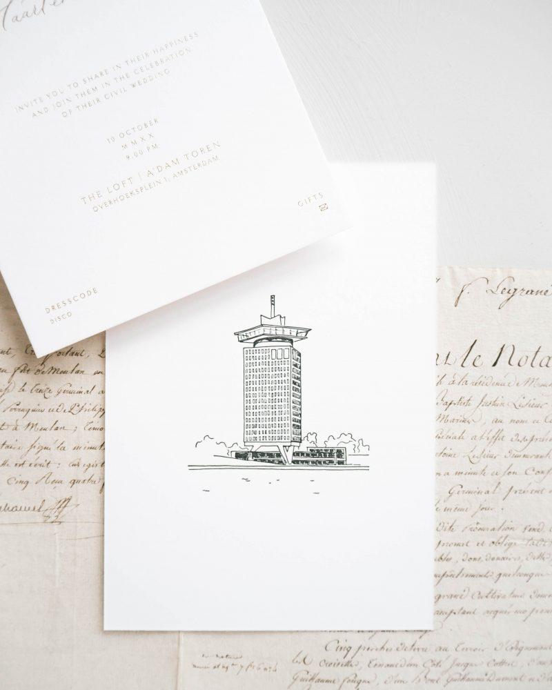 a Lettre Kalligrafie illustraties trouwlocaties Bruiloft uitnodigingen Amsterdam A'Dam Toren The Loft